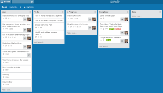 Example of a Kanban board on Trello